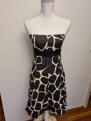 Schulterfreies Kleid in schwarz weiß Zebra Tiermuster Gr. S