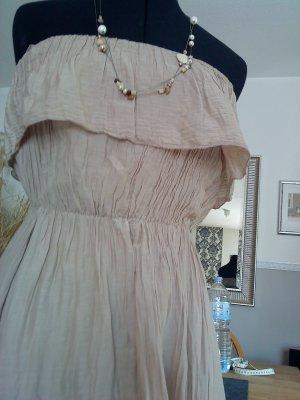 Schulterfreies Kleid M sandfarben made in Italy