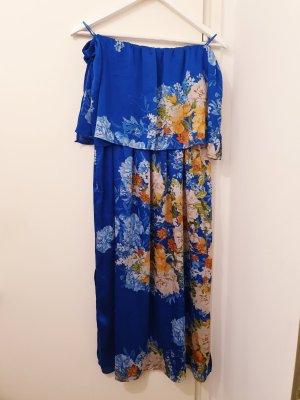 Schulterfreies Kleid mit Blumenmuster, Gr. M