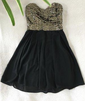 Schulterfreies Kleid mit Pailetten