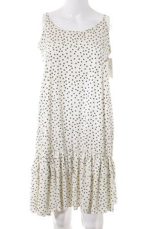 schulterfreies Kleid weiß-schwarz Punktemuster Casual-Look