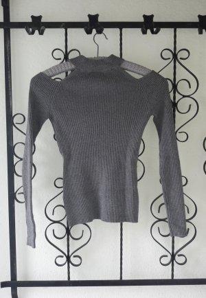 Bershka Geribd shirt donkergrijs