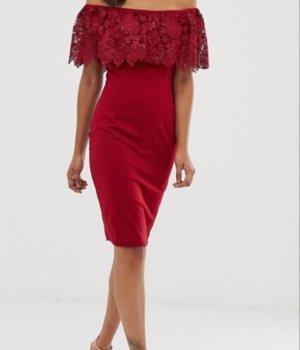 Schulterfreies Midikleid mit Farbblockdesign Abendkleid rot