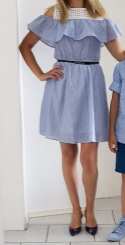LC Waikiki Off-The-Shoulder Dress white-steel blue