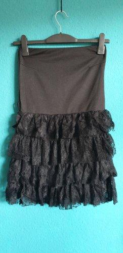 Schulterfreies Minikleid mit Spitzenrüschen