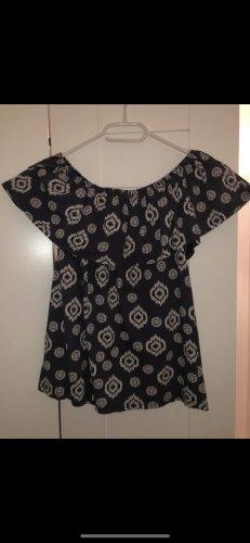 Promod Koszula typu carmen czarny-ciemnoniebieski