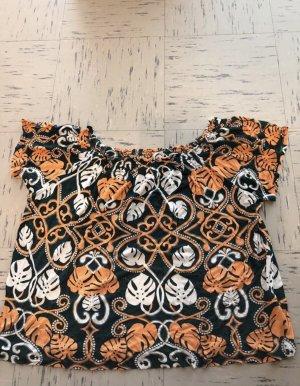 H&M Top bez ramiączek pomarańczowy-czarny