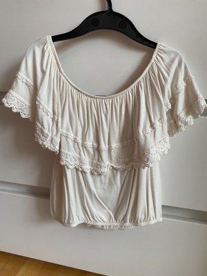 Hollister Koszula typu carmen w kolorze białej wełny-kremowy
