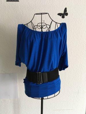 Schulterfreies Oberteil mit elastischen Gürtel mit Schnalle (wie neu)