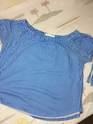 H&M Top spalle scoperte bianco-blu fiordaliso