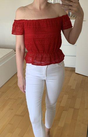 Miss Selfridge Cropped Shirt red