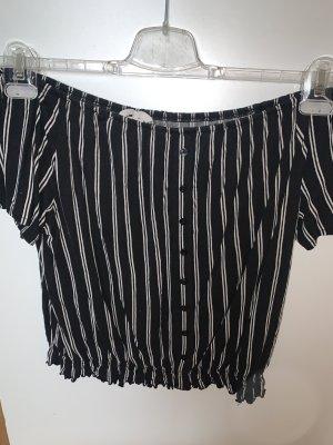 H&M Carmen Shirt black-white