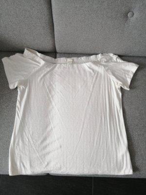 Hennes & Mauritz Camisa de un solo hombro blanco puro