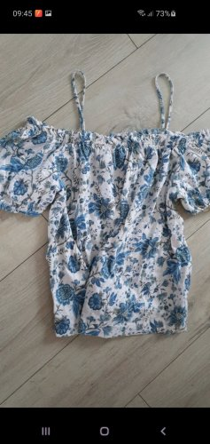 H&M Basic Off-The-Shoulder Top white-cornflower blue