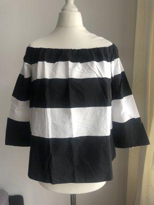 Zara Camisa tipo Carmen negro-blanco