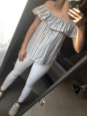 Schulterfreies Shirt / Grau&weiß / tally weijl/ L