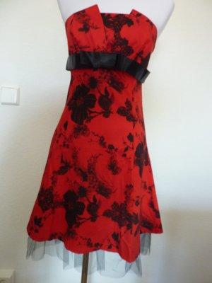 schulterfreies Sommerkleid rot schwarz Hochzeit Kleid geblümt Blumen Blütenmuster Gr S