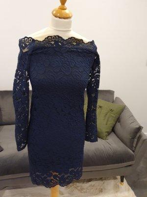 H&M Robe en dentelle bleu foncé