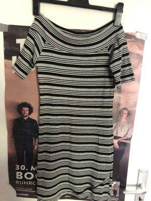 Schulterfreies Streifen-Kleid