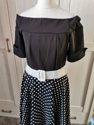 Schulterfreies Swing Retrokleid Tellerrock Swingkleid Vintage Kleid Retro