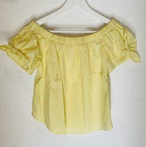 Schulterfreies T-Shirt / Bluse mit Schleifchen gelb H&M Gr. 38