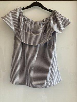 Vila Clothes Koszulka na jedno ramię biały-jasnoszary Bawełna