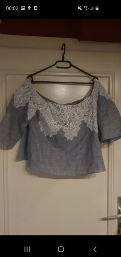 Zara Cropped Shirt white-grey