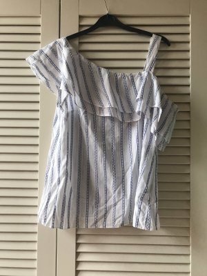 Carmen shirt wit-blauw
