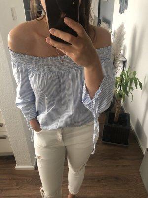 Hauts épaule nues blanc-bleu azur