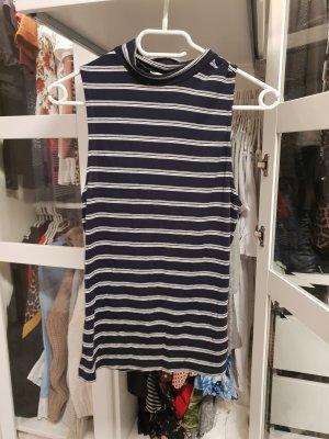 H&M Basic Hauts épaule nues blanc-bleu foncé
