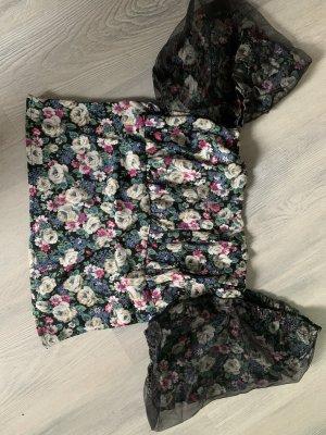 Schulterfreies Top mit Blumen