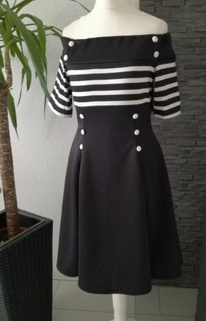 Schulterfreies Vintage Kleid Swing 50er Rockabilly Pin up Swingkleid Gr.36/38