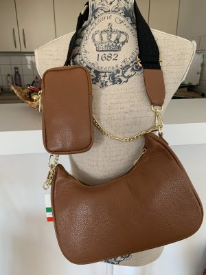 Made in Italy Shoulder Bag cognac-coloured-brown leather