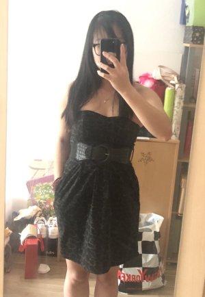 Abito senza spalle nero-cachi