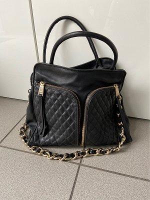 abro Shopper black-gold-colored leather