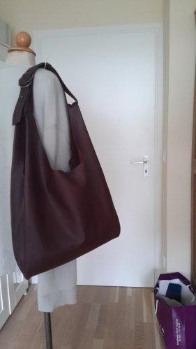 Adolfo Dominguez Sac porté épaule bordeau-brun pourpre