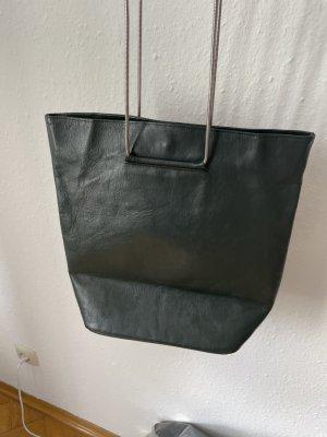 Schultertasche dunkelgrün Leder