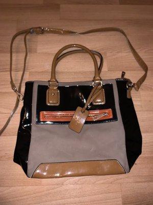 Schultertasche/ Shopper mit Lack-Details