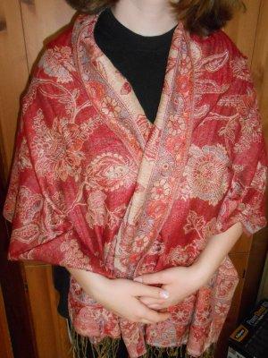 Scialle rosso scuro-beige chiaro