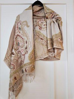 LOBERON Châle au tricot or rose-beige viscose