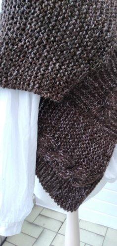 Handmade Ponczo z dzianiny jasnobrązowy-brązowy