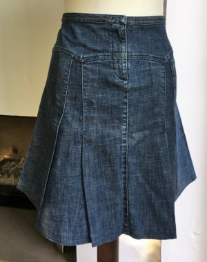 * SCHUMACHER * JEANS ROCK high waist  ROCK FALTEN ROCK blau S 36 38