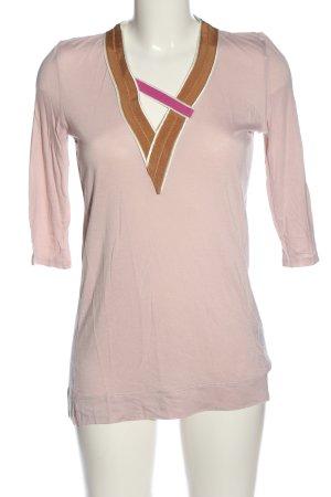 Schumacher Kurzarm-Bluse pink-braun Casual-Look
