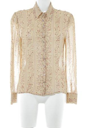 Schumacher Langarm-Bluse dunkelgelb-dunkelrot florales Muster Elegant