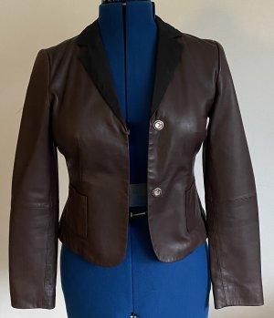 Schumacher Veste en cuir brun foncé-noir cuir