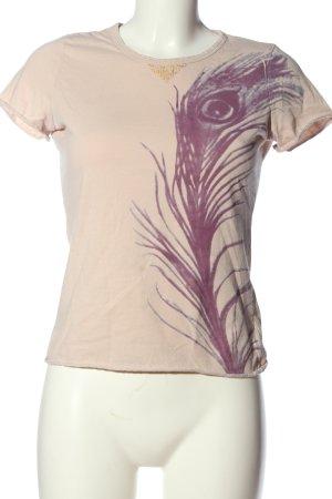 Schumacher Print-Shirt creme-lila Motivdruck Casual-Look