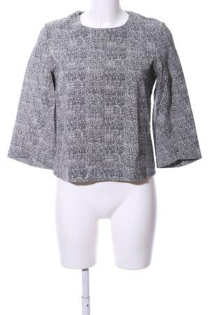Schumacher Rundhalspullover weiß-schwarz abstraktes Muster Business-Look