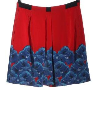 Schumacher Jupe en soie rouge-bleu motif de fleur style décontracté