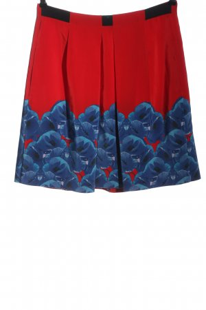 Schumacher Seidenrock rot-blau Blumenmuster Casual-Look