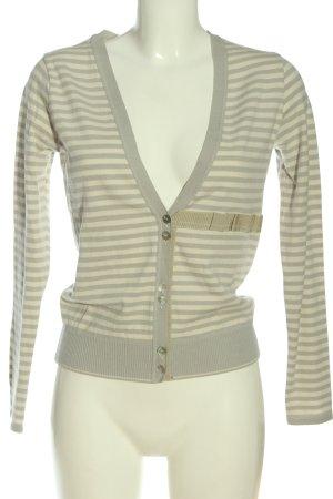 Schumacher Cardigan tricotés gris clair-crème motif rayé style décontracté